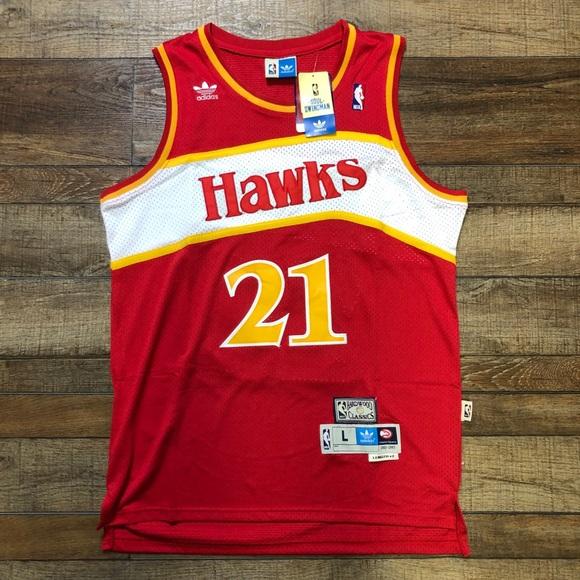 Details about Dominique Wilkins Atlanta Hawks Adidas Trefoil Throwback NBA T Shirt Men's Large